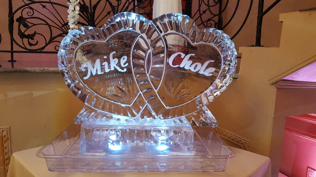 001 Two Hearts with Names on Pedestal