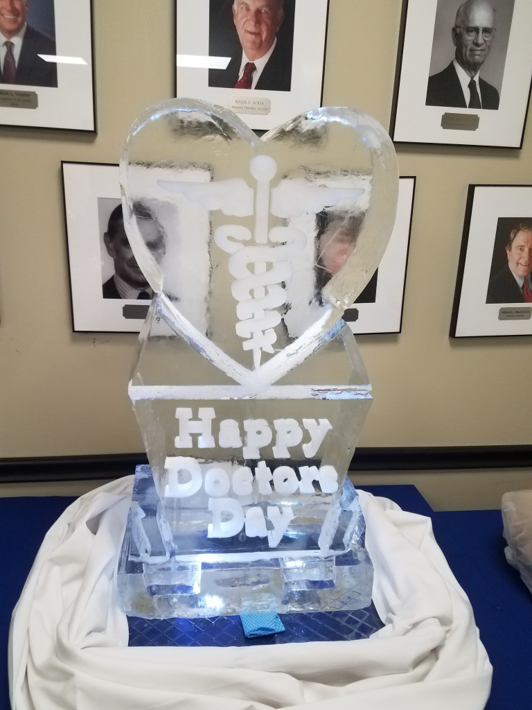 Happy Doctors Day with Shield on Pedestal 633