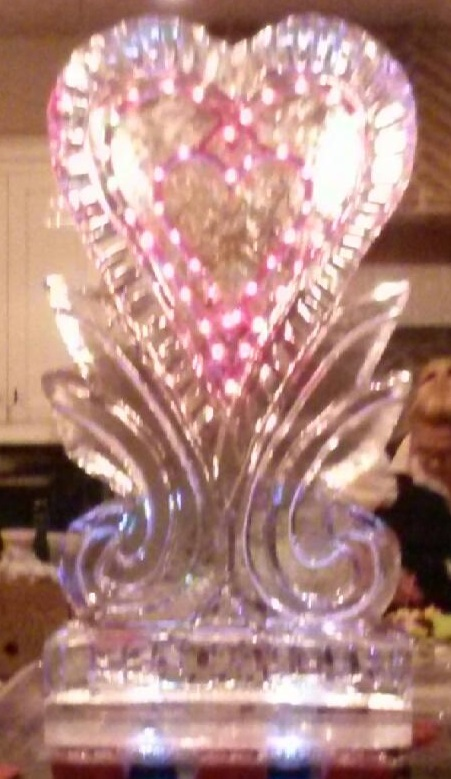 028 Lighted Heart on Pedestal